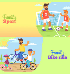 Family football and bike riding with dad and kids vector