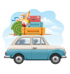family traveling on the car vector image