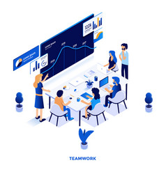 flat color modern isometric design - teamwork vector image