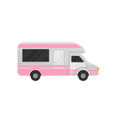 Flat icon of camper truck gray van with vector