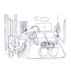 Freehand sketch of living room with window vector