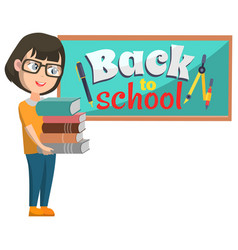 girl stand near blackboard back to school vector image
