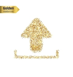 Gold glitter icon of download isolated on vector