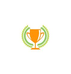 golden trophy in wreath for logo design vector image