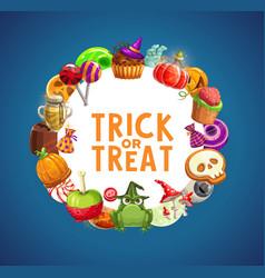 Halloween candies pumpkins cakes lollipops vector
