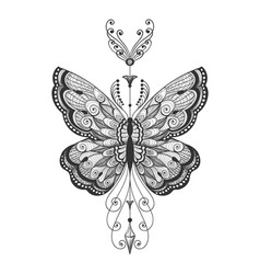 hand drawn butterfly tattoo vector image