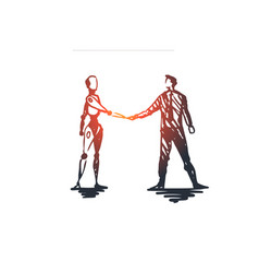 hci automation business cyborg cooperation vector image