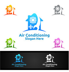 House snow air conditioning and heating services vector