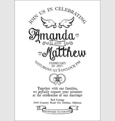 Invitation to a wedding in the style of a village vector