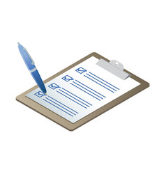 isometric clipboard with check list vector image