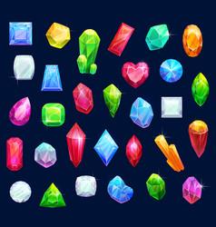 Jewelry gemstones gems and diamond crystals vector