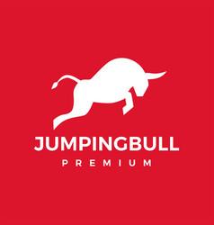 jumping bull logo icon vector image