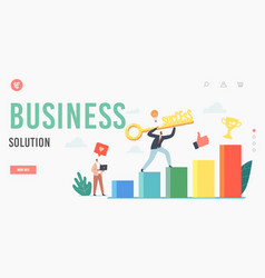 Key to success business solution landing page vector