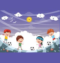kid playing football vector image