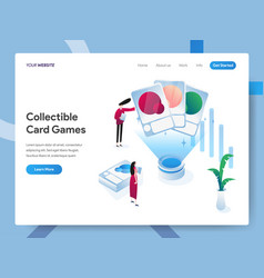 landing page template collectible card games vector image