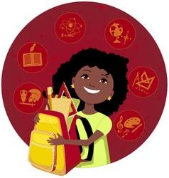 Latina girl going to school vector