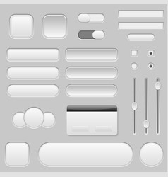 Light grey interface buttons sliders and toggle vector