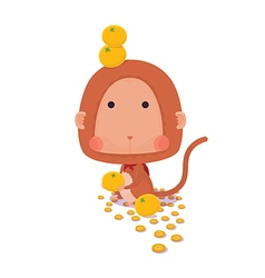 Lucky Monkey on White Background vector image