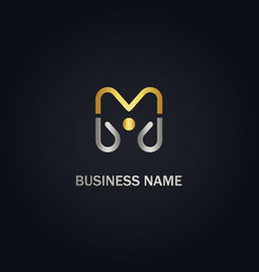 m initial line company gold logo vector image