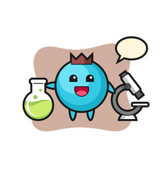 Mascot character blueberry as a scientist vector