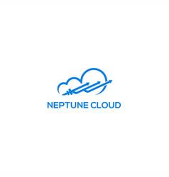 neptune trident cloud logo vector image