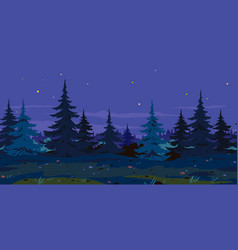 Night forest trail game background vector