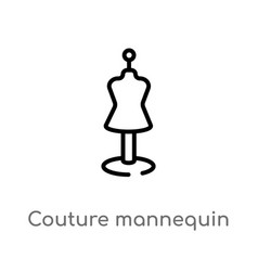 Outline couture mannequin icon isolated black vector