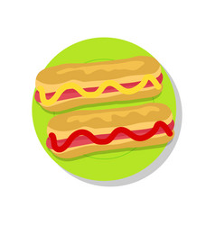 pair of delicious hot-dogs vector image