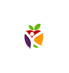 people fruit logo icon design vector image