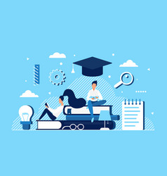 people read study education concept with cartoon vector image