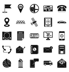 Phone service icons set simple style vector