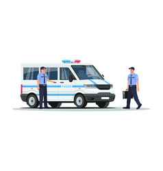 Police truck with guards semi flat rgb color vector