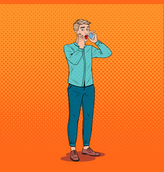 Pop art man with long nose talking on smartphone vector