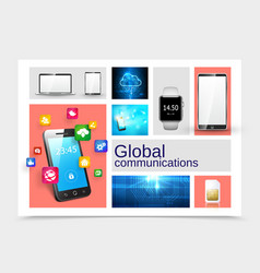 realistic global communications concept vector image