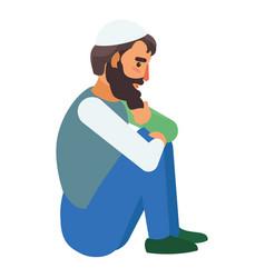 refugee man icon flat style vector image