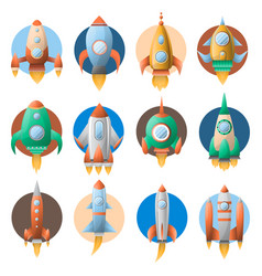 rockets in circles colorful flat poster on vector image