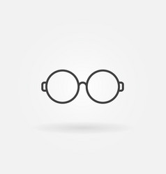 Round glasses outline icon eyeglasses sign vector