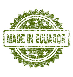 Scratched textured made in ecuador stamp seal vector