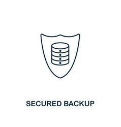 secured backup outline icon thin line style from vector image