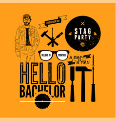 Set grunge design element for stag party vector