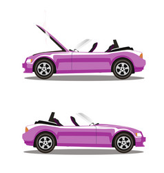 Set of broken cartoon rose cabriolet sport car vector