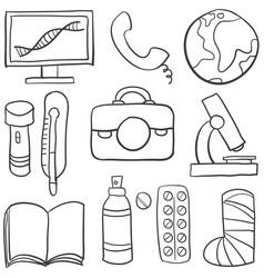 Set of medical object doodles vector