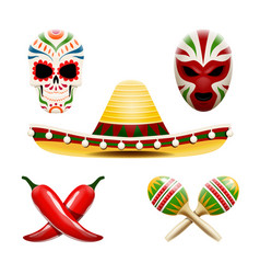 Set of mexican symbols vector