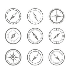 Set of monochrome icons with compass vector