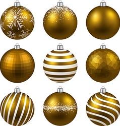 Set of realistic gold christmas balls vector image