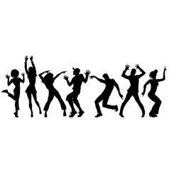 silhouettes collection set young people dancing vector image