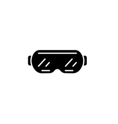 ski goggles black icon sign on isolated vector image