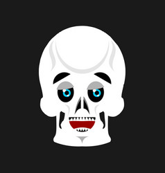 skull happy emoji skeleton head marry emotion vector image
