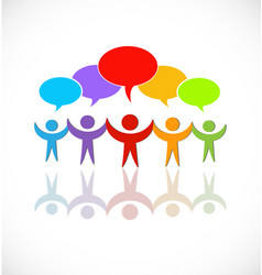 social people teamwork speech bubbles icon vector image