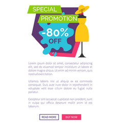 special promotion 80 off promo poster push button vector image